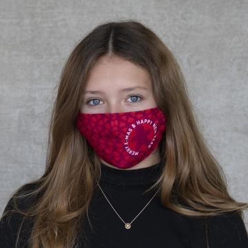 "Gesichtsmaske ""Merry X-mas"" rot"
