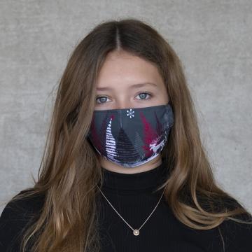 """Gesichtsmaske """"X-mas landscape"""" rot und grau"""