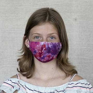 Gesichtsmaske Kinder Batik rotpink