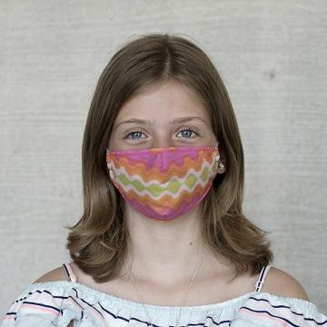 Gesichtsmaske Kinder Batik pinkprange