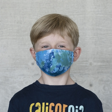 Gesichtsmaske Kinder Batik blaugrün