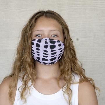 Gesichtsmaske BATIK BASIC, flieder / schwarz